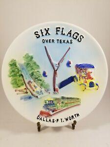 Rare 1971 Six Flags Over Texas Vintage Souvenir Wall Plate.  High Relief.