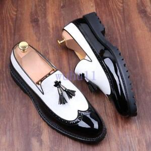 Men-039-s-Korean-Brogues-Wingtip-Tassels-Leather-Dress-Slip-On-Splice-Oxfords-Shoes