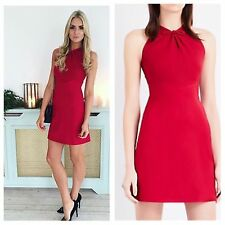 Karen Millen Boutique Mini Celeb Red Pink Bow Stretch  Dress New 10 UK New