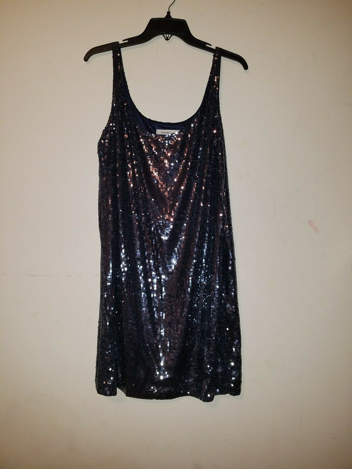 NWT Laundry by Design Sequin slip-on Navy bluee  dress sz 10