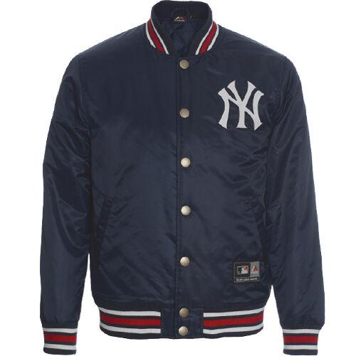 Majestic Glascoe Satin Mens Lightly Padded Baseball NY Jacket ...