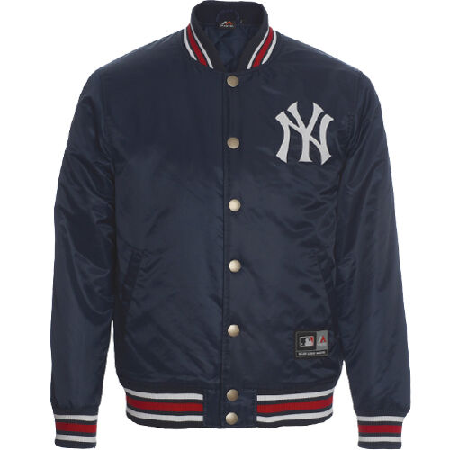 Majestic Satin Mens Lightly Padded Baseball Yankees Jacket A6NYY5510NVY025 P4B