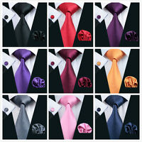 Men's silk tie cufflinks handkerchief plain tie wedding tie free postage 2016