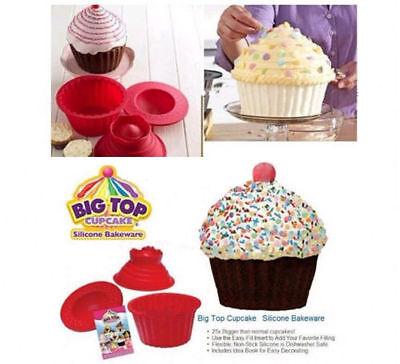 3pcs Giant Big Silicone Cupcake Cake Mould Top Cupcake Bake Set Baking Mold FE