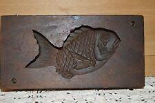 Antique JAPANESE KASHIGATA FISH Hand Carved Wood Rice & Sweet Cake Mold