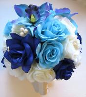 17 Pc Wedding Bouquet Bridal Silk Flowers Royal Cream Aqua Blue Orchid