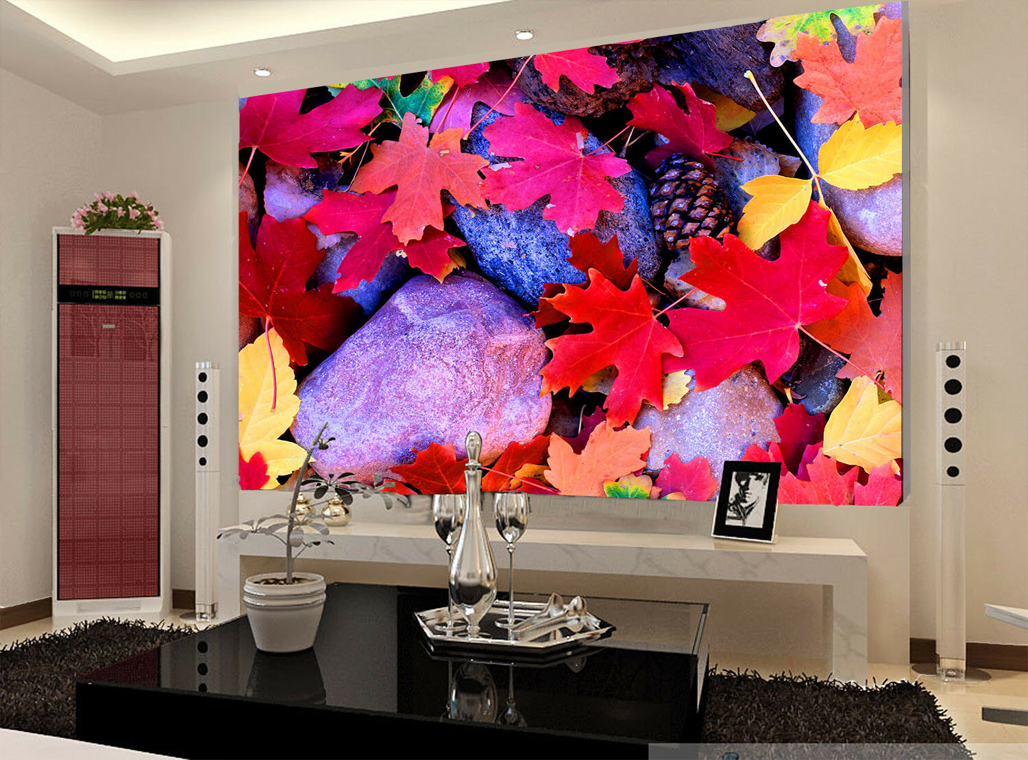 3d Stone Fallen Leaves 74 Wallpaper Mural Wallpaper Wallpaper Picture Family De