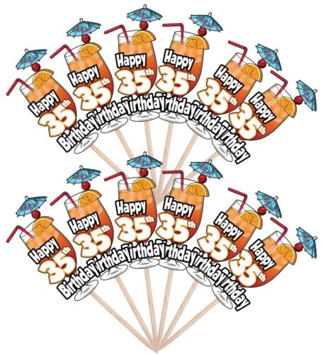 35th Birthday Cocktail Party Food Cup Cake Picks Sticks Decorations Toppers