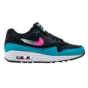grand choix de 2b9b2 47c88 Details about Nike Air Max 1 (Black/Laser Fuchsia-Blue Fury-White) Men's  Shoes CI2450-001