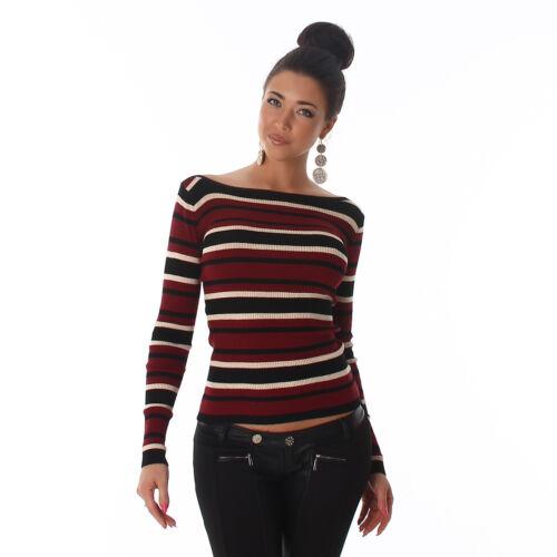 Maglia top righe asimmetriche donna costine aderente maniche lunghe nuovo