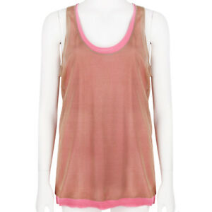 Reed-Krakoff-Raspberry-Pink-Taupe-Double-Layered-Silk-Tank-Top-L-UK12