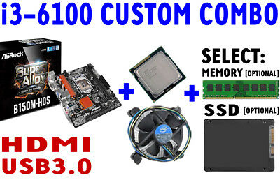 Intel i3-6100 QUAD CORE CPU ASRock B150M-HDS DDR4 Motherboard SSD CUSTOM COMBO