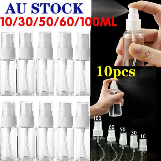 10X Empty Refillable Plastic Pump Spray Bottles Travel Perfume Atomiser Tools