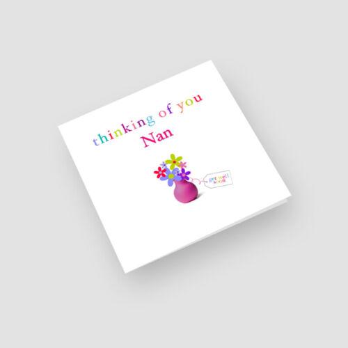 Personalised Handmade Thinking Of You Card Flowerpot For Her Grandma Mum Nan