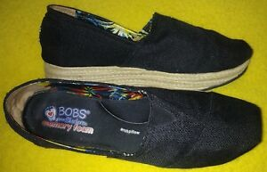 Details about BOBS Skechers Size 9 memory foam arch pillow Espadrille Wedges Black SN 34101
