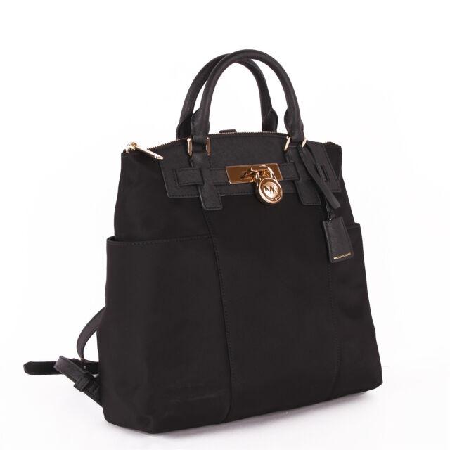 874d6ddf7d18 coupon code for michael kors nylon leather book bag backpack handbag purse  black daf7f 8a8c9
