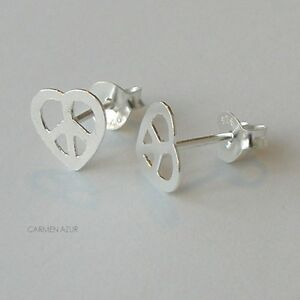 Image Is Loading Solid 925 Sterling Silver Stud Earrings Peace Heart