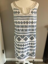 90ade50e item 3 White House Black Market Size 10 Blue & White Beaded Sheath Dress -White  House Black Market Size 10 Blue & White Beaded Sheath Dress