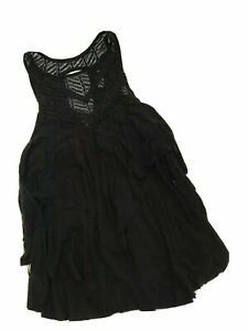 Free-People-Women-s-Black-Ruffle-Sleeveless-Top-Shirt-size-XS-Orig-79