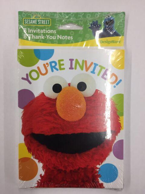 Designware Sesame Street Elmo Birthday Invitation Cards Thank You