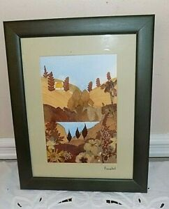 Celt-Iberia Trader Decoupage of Dried Flowers Framed & Matted signed Annabel