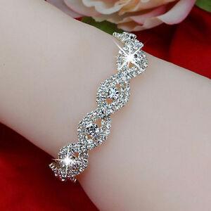 Elegant-Deluxe-Femme-cristal-strass-Infinity-Bangle-Bracelet-Bijoux-Cadeau