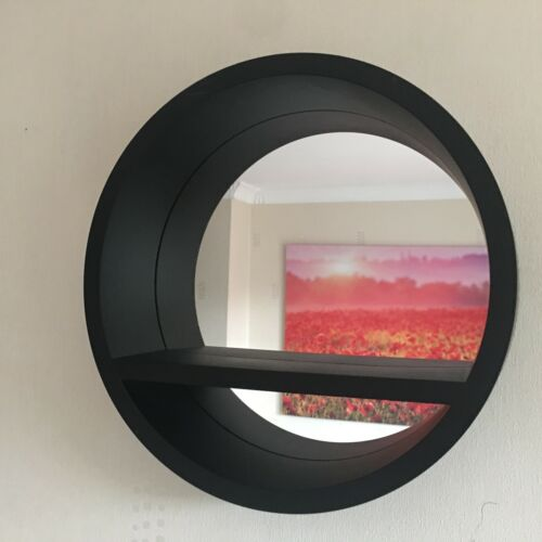 RETRO ROUND PORTHOLE MIRROR INDUSTRIAL STYLE DEEP SHELF BATHROOM MIRROR STORAGE