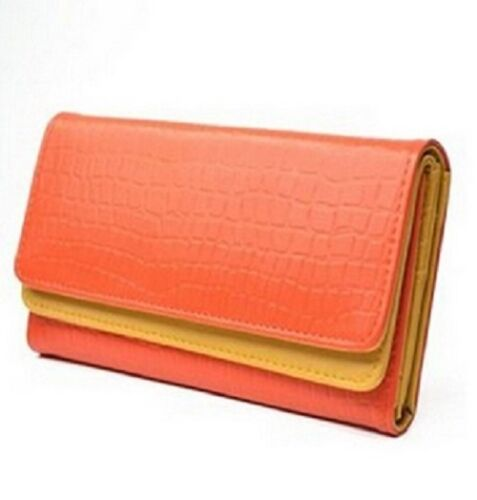 women wallet KLOUD City Orange synthetic leather stone pattern double layer