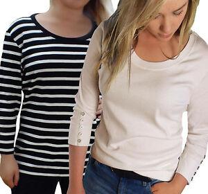 Ladies-PLus-Size-16-26-Striped-amp-Plain-3-4-Sleeved-Tops-Breton-T-shirts