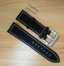 24mm Suede Genuine Leather Black Watch Band Strap Free Stainless Spring Bars