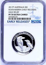 2017 P Australia HIGH RELIEF 1oz Silver Kookaburra $1 Coin NGC PF70 UC ER + OGP