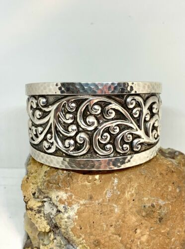 Lois Hill sterling silver cuff bracelet marked 925 HEAVY 97.3 grams signed vintage
