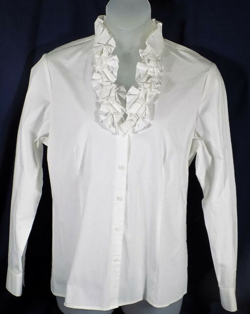 Talbots XL Blouse White Ruffled Front Long Sleeves