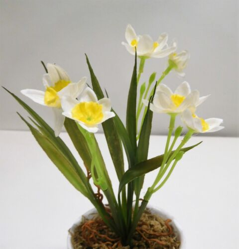 Narzisse Osterglocke Strauß Seidenblume Kunstblume 15 cm N-88897-0 weiß gelb F64
