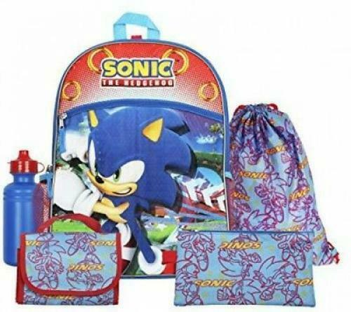 Sonic The Hedgehog Kids Backpack with Lunch School Bag Boys Bookbag 5 in 1