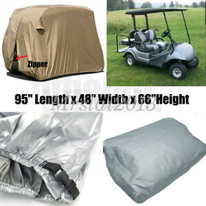 95-034-2-Passenger-Golf-Cart-Cover-Vents-Zippered-Sliver-For-EZ-Go-Club-Yamaha-Golf