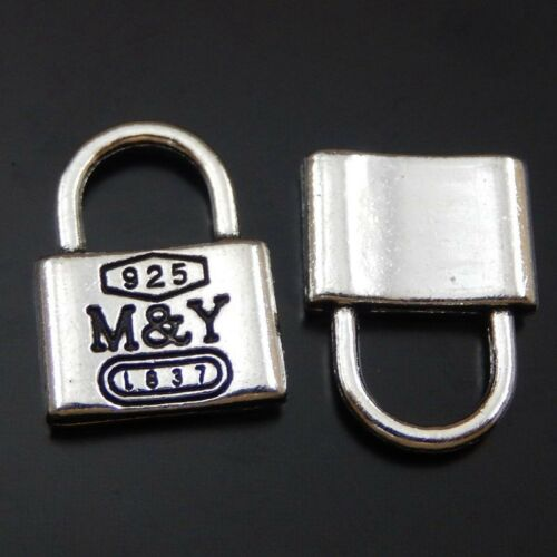 39861 Vintage Silver M/&Y lock Shaped Pendants Charms Jewelry Accessories 20pcs