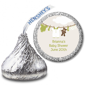 Clothesline Baby 108 Personalized Hershey Kiss Baby Shower Sticker Labels