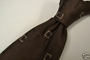 Brioni-Green-Brown-Overlapping-Geometric-Chunky-100-Silk-Tie-EUC-Italy