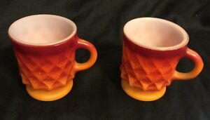 Vintage-Fire-King-Orange-Kimberly-Mug-Set-of-Retro-Cups-Stacking-Anchor-Hocking