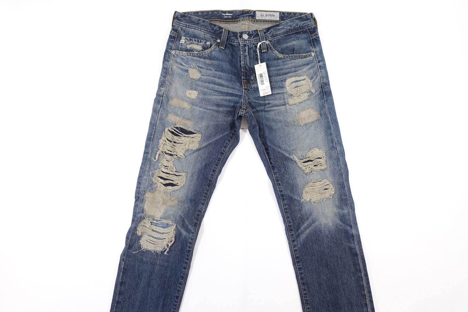 ADRIANO goldSHMIED AG AG-ED DENIM RIPPED CUT KNEE FADED 29 THE NOMAD SLIM JEANS