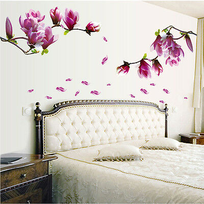 Magnolia Flowers Removable Wall Sticker Art Vinyl Decals Home Decor Chic