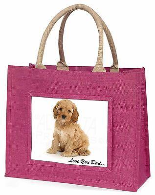 Cockerpoodle 'Liebe dich Papa' Große Rosa Einkaufstasche Weihnachtsgeschenk,