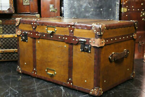 Tan Leather Coffee Table Chest Trunk with Antique leather Trim handmade design