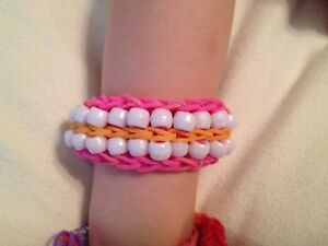 Details About Rainbow Loom Bracelet Double Beaded Ladder Orange Pink With White Beads