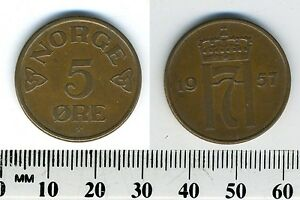 Image Is Loading Norway 1957 5 Ore Bronze Coin King Haakon