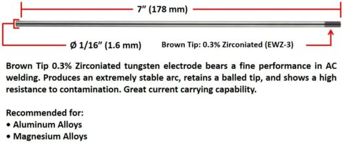 "Brown Tip 1//16/"" x 7/"" 10 PACK SÜA 0.3/% Zirconiated Tungsten Electrode TIG"