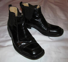 vintage ALDO BRUE  polished leather pull on chelsea ankle boots men's 6 women 8