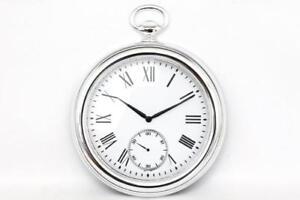Vintage-Retro-Silver-Antique-Pocket-Fob-Watch-Chrome-effect-Wall-Clock-39-cm