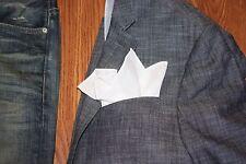 NEW-100% White Linen Pocket Square with White Trim
